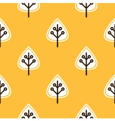 Thanksgiving yellow seamless pattern with leaves vector image