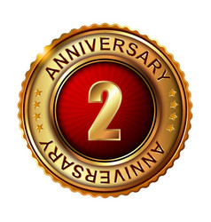 2 years anniversary golden label vector image vector image