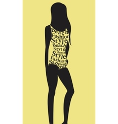 Woman in swimsuit from words vector