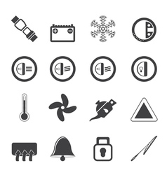 Silhouette car dashboard icons vector