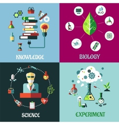 Science experiment and knowledge flat concepts vector