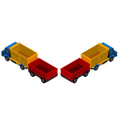 3d design for trucks with wagons vector image