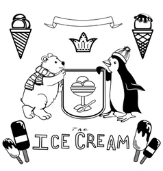 Various ice cream set vector