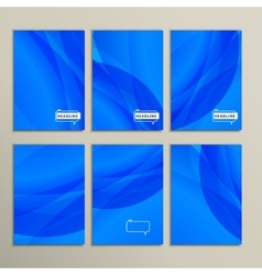 Set six abstract pictures of bright blue vector
