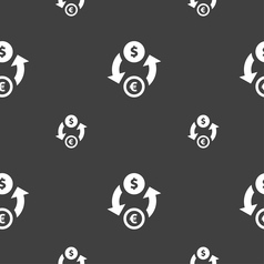 Currency exchange icon sign Seamless pattern on a vector image