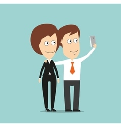 Businessman and business woman taking selfie vector