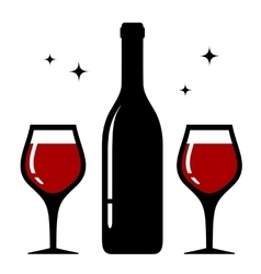 Isolated bottle and wine glasses icon vector