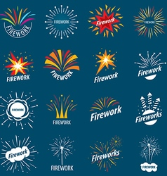 biggest collection of logos for fireworks vector image