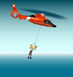 Rescue helicopter flying on a rope vector