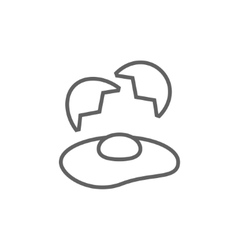 Broken egg and shells line icon vector