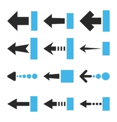 Pull left flat icon set vector