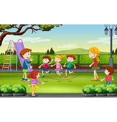 Children jumping rope in the park vector