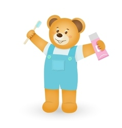 Teddy bear with toothbrush and toothpaste vector