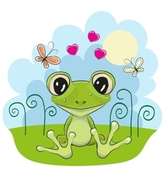 Frog with flowers vector image