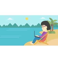 Business woman working on laptop on the beach vector