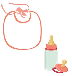 Baby bib bottle and pacifier for girl vector