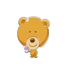 Bear with cupcake vector