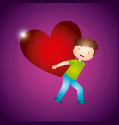 boy carrying a heart design vector image