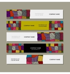 Business card collection patchwork carpet design vector
