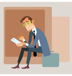 Businessman traveler sits on the bag and reads vector