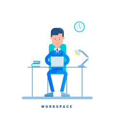 Businessman working at his desk business concept vector