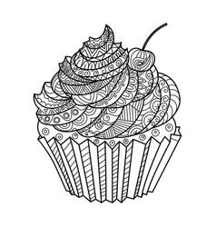 Cake coloring book vector