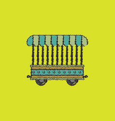 Circus wagon icon in flat style isolated on white vector