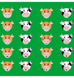 Cow face emotion icon set of emoji vector