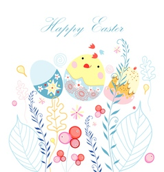 Easter postcard with chicken vector image vector image