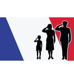 France soldier family salute vector