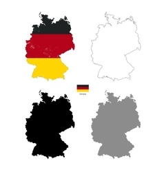 Germany country black silhouette and with flag on vector image