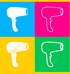 Hair dryer sign four styles of icon on four color vector