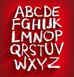 Handwritten English alphabet and a red background vector image