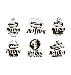 Hot dog logo or label fast food eating emblem vector