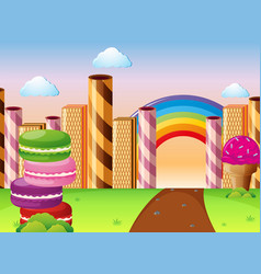 Land with different kinds of desserts vector
