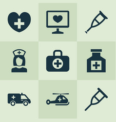 Medicine icons set collection of spike diagnosis vector
