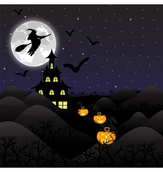 Night landscape on halloween vector