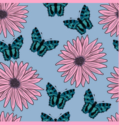 Pattern of gerberas and butterflies vector