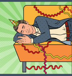 Pop art businessman sleeping on sofa after party vector