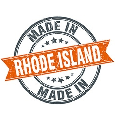 Rhode island orange grunge ribbon stamp on white vector