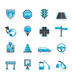 road and travel icons vector image