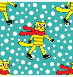 seamless pattern with cat on skates vector image