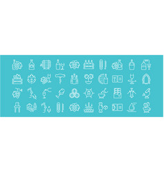 Set flat line icons cognac vector