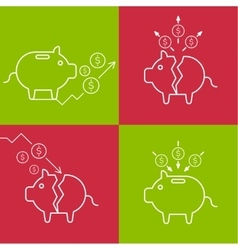 Set of with a piggy bank vector image