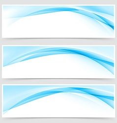 Soft blue wave border template header set vector