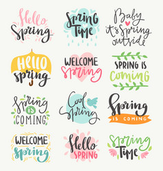Spring time lettering greeting cards set special vector