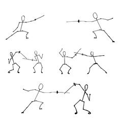 stick human figures set vector image vector image