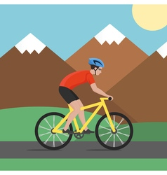 Cyclist on bike on background with mountains biker vector