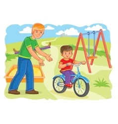 Father teaches to ride a bike little boy vector