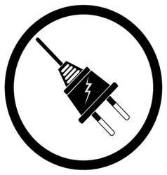 Electric plug black silhouette vector